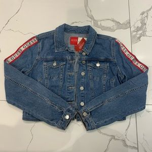 NWT Guess Logo Blue Jean Jacket Cropped Red Silver